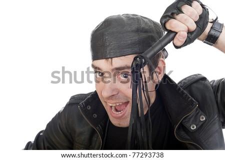 style, crazy guy on isolated white background - stock photo
