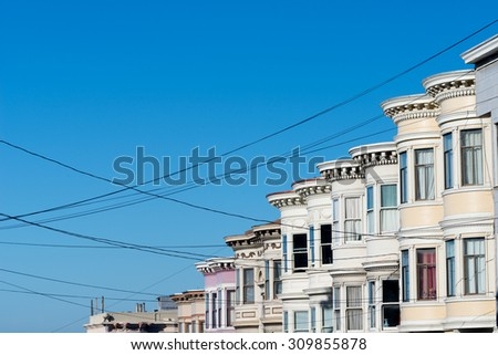 Style of the Victorian Homes in San Francisco, USA - stock photo