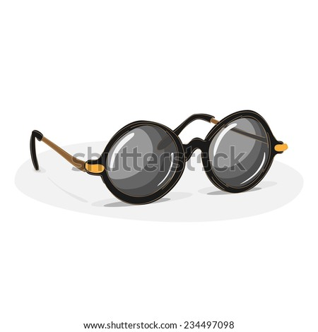 Style Old-fashioned Vintage and Retro Round Black Frame Lens Sunglasses  - stock photo