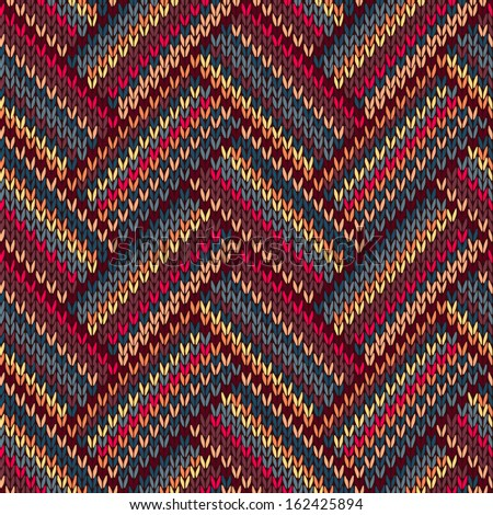 Style Seamless Brown Red Blue Yellow Color Knitted Pattern - stock photo