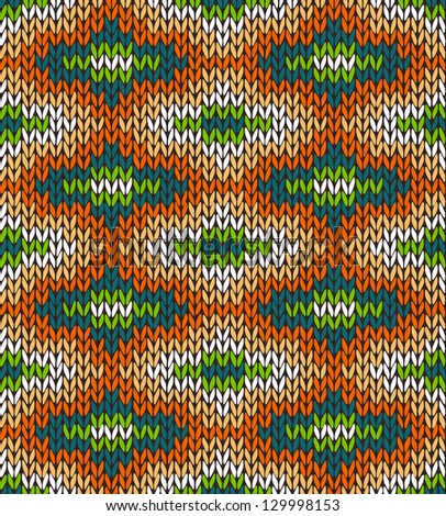 Style Seamless Knitted Pattern. Blue Green Orange White Color Illustration from my large Collection of Samples of knitted Fabrics