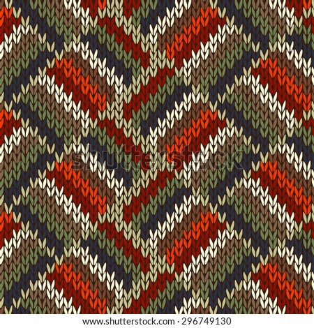 Style Seamless Knitted Pattern. Red Blue Green White Orange Color Illustration from my large Collection of Samples of knitted Fabrics - stock photo