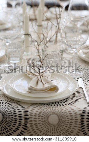 style table setting for dinner - stock photo