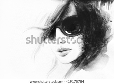 Style woman with sunglasses. Abstract fashion watercolor illustration