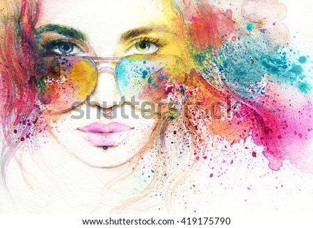 Style woman with sunglasses. Abstract fashion watercolor illustration - stock photo