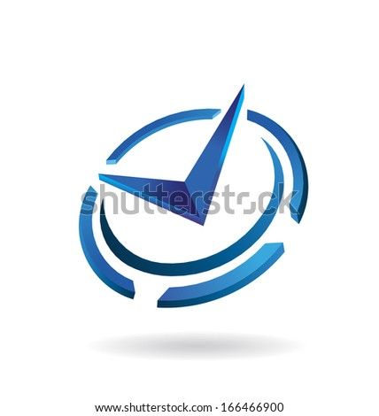 Styled Clock Time Icon - stock photo