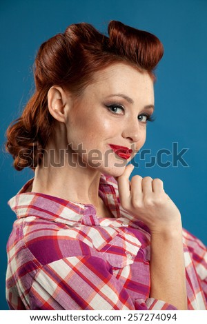Styled Smiling Woman with Retro Golden Hair Style.  - stock photo