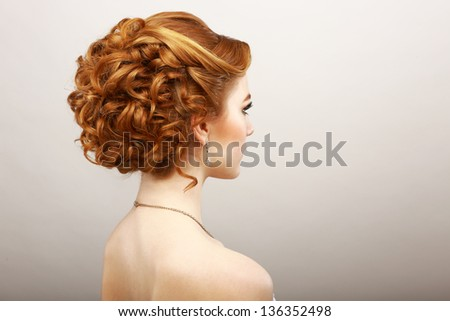 Styling. Rear View of Frizzy Red Hair Woman. Haircare Spa Salon Concept - stock photo