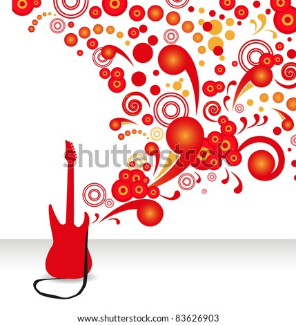 stylish abstract background with a red electric guitar