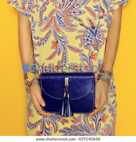 Stylish Accessories. Bag and Jewelry. Bright Summer Oriental Prints. Be in trend.