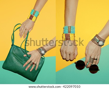 Stylish Accessories Summer Girls. Bags, Eyewear, Jewelry. Bright Summer - stock photo