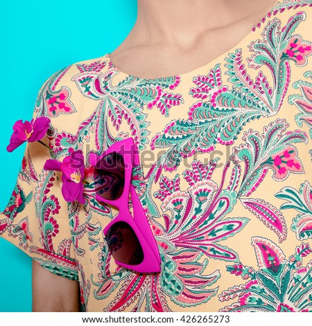 Stylish Accessory Sunglasses and fashionable Summer Print. Bright Summer Fashion.