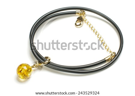 Stylish amber necklace or armlet isolated - stock photo