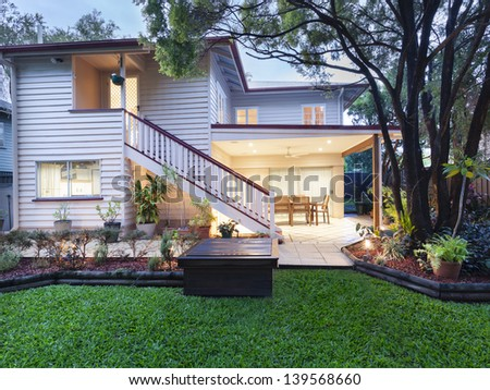 Stylish Australian home at dusk - stock photo