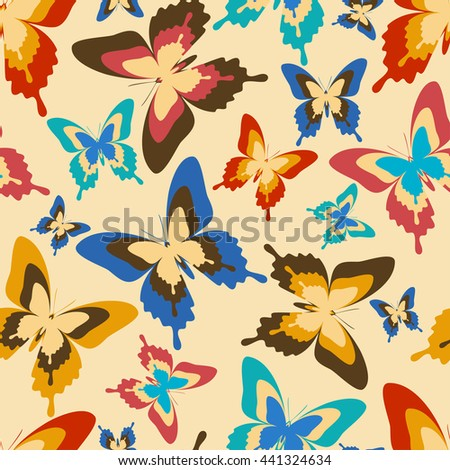 Stylish background seamless pattern with flying colorful butterflies in vintage or retro style. Bright trendy multicolored wallpaper. Raster illustration - stock photo