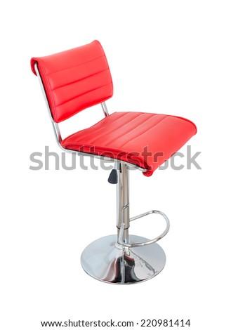 Stylish bar stool. Red stylish swivel chair - isolated on white - stock photo