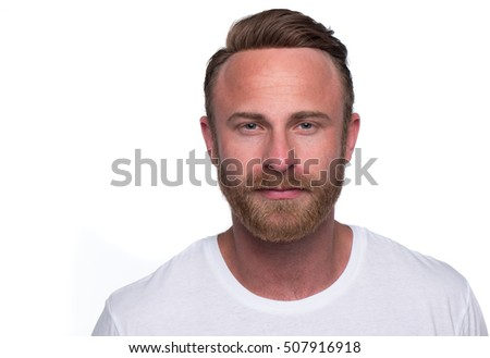 Stylish bearded man in white shirt. Close up portrait over white background