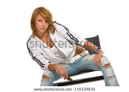 Stylish, beautiful girl on white background - stock photo