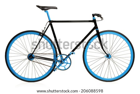 Stylish bicycle isolated on white background - stock photo