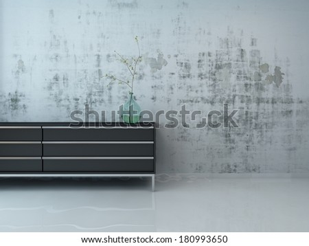 Stylish black cupboard against concrete wall - stock photo