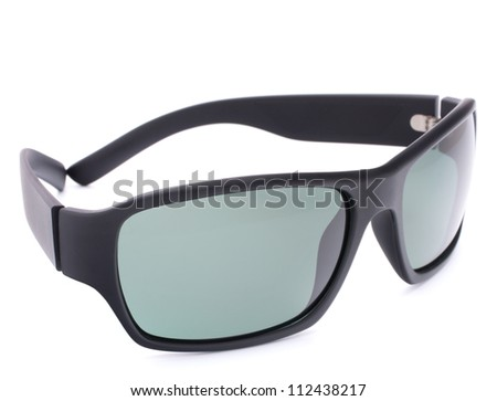 Stylish black sunglasses isolated on white background cutout