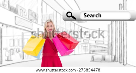 Stylish blonde in red dress holding shopping bags against search engine - stock photo