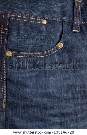 stylish blue jeans with a pocket closeup - stock photo
