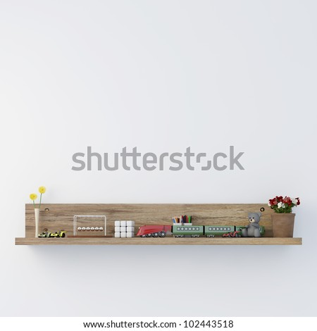 Stylish bookshelf kids room - stock photo