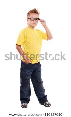 Stylish boy in glasses over white background  full length