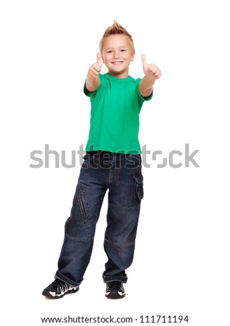 Stylish boy in green tshirt over white background full length showing thumbs up