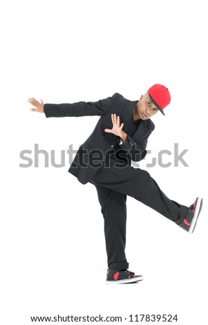 Stylish break-dancer performing a cool move, isolated against white