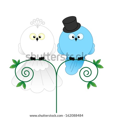 Stylish Bride and Groom Birds isolated on white. Cartoon characters for wedding invitations, cards, etc
