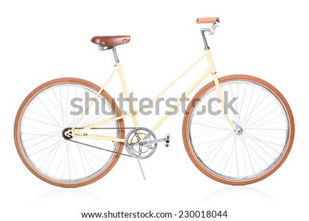 Stylish brown bicycle isolated on white background - stock photo