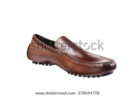 Stylish Brown Leather Shoes Men , Men & Woman Accessories isolated on white side view - stock photo