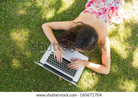 Stylish brunette lying on the grass typing at her laptop in a park on a sunny day - stock photo