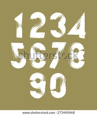stylish brush digits, handwritten numerals, white numbers set on dark background. - stock photo