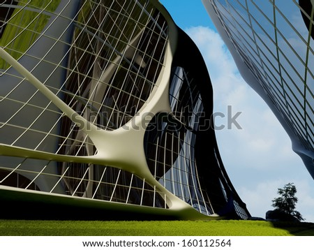 Stylish building against the sky. - stock photo