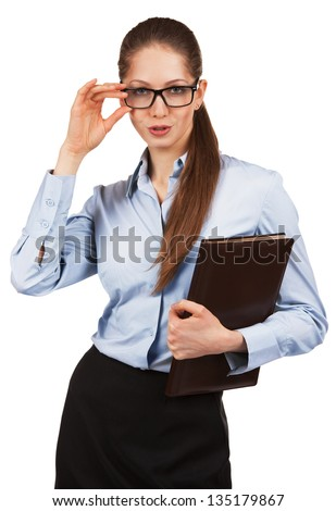 Stylish business woman with a folder in his hand