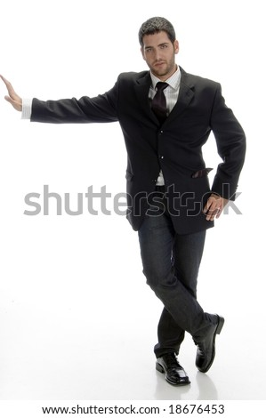 stylish businessman posing on an isolated background - stock photo