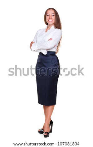 stylish businesswoman posing over white background - stock photo