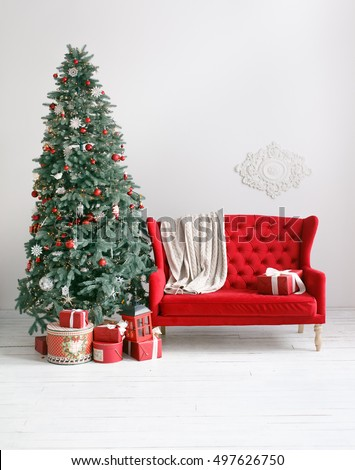 Stylish Christmas Interior With An Elegant Red Sofa Comfort Home Armchair Fabric Upholstery