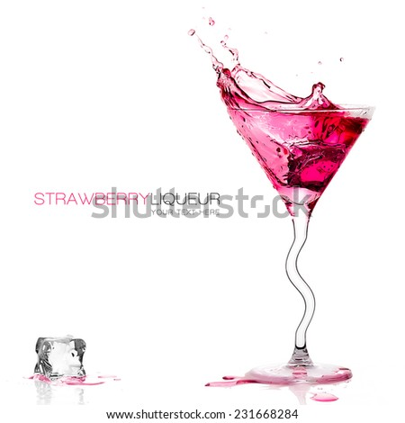 Stylish cocktail glass with strawberry liquor splashing out, close-up isolated on white, with sample text. Template design. Party concept - stock photo