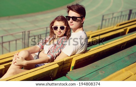 Stylish couple in love, vintage photo hipsters in the city - stock photo