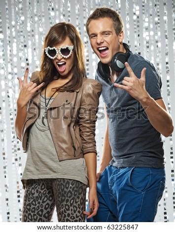 Stylish couple  in the nightclub - stock photo