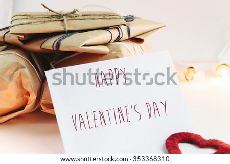 Stylish craft presents for special occasions, happy valentine's day text, holiday greeting card concept