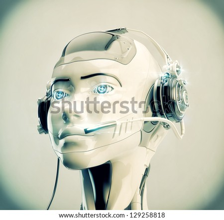Stylish cyber support. Beautiful girl in headset. 3d render / Cute robotic operator - stock photo
