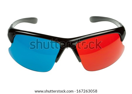 Stylish 3d plastic glasses red and cyan isolated on white - stock photo