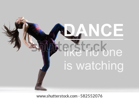 stylish dancing young girl portrait fit stock photo