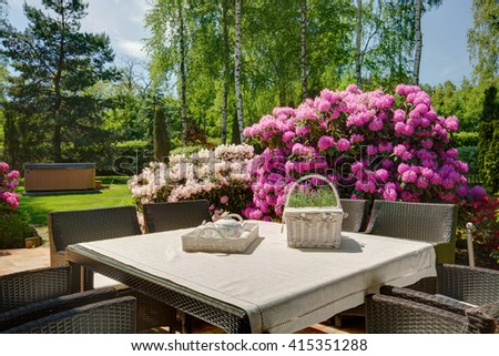 Stylish decoration of the beautiful terrace of the house  - stock photo