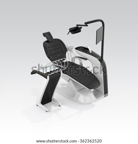 Stylish dentist chair isolated on gray background. Clipping path available. Original design. - stock photo